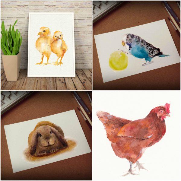 pets watercolor